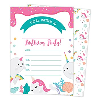 Amazon Com Narwhals Happy Birthday Invitations Invite Cards 25