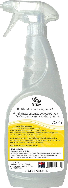 PetNix Desodorante y desinfectante para mascotas de limón suave. Mata las bacterias la causa de los malos olores en alfombras, ropa de cama, sofá, sillas, ...