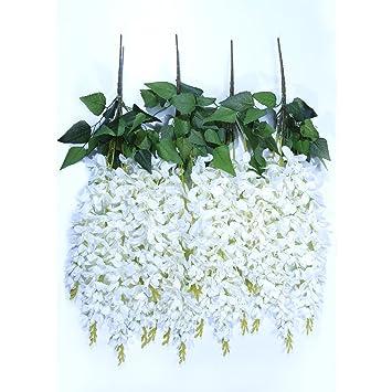 Amazon artificial silk white wisteria vine ratta silk hanging artificial silk white wisteria vine ratta silk hanging flowers wedding decor garden arches mightylinksfo