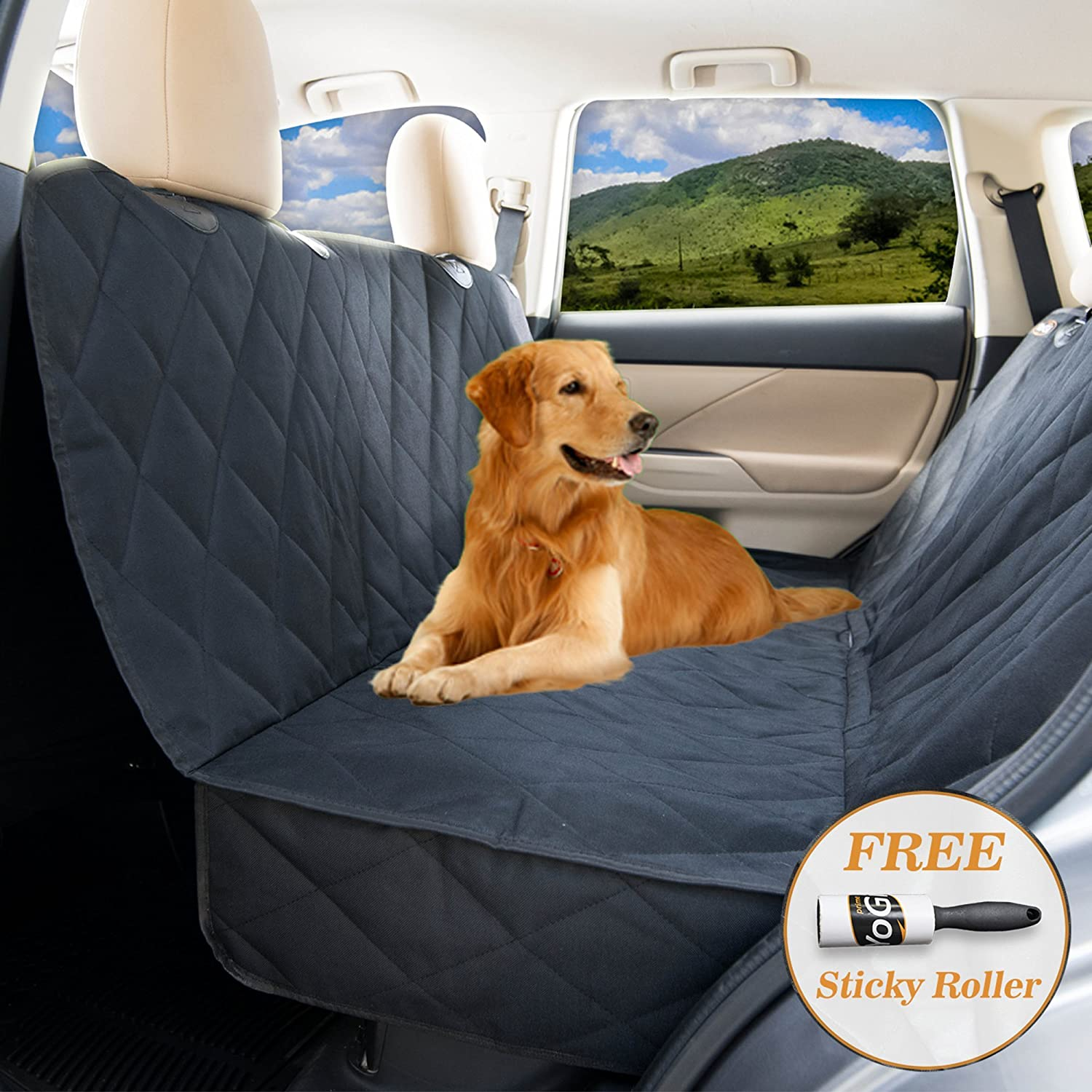 YoGi Prime Dog seat Cover for Back seat – Hammock Dog car seat Covers for Large Dogs, Waterproof, protrct Your Vehicle only with Durable Back seat Cover for Dogs – Universal fit