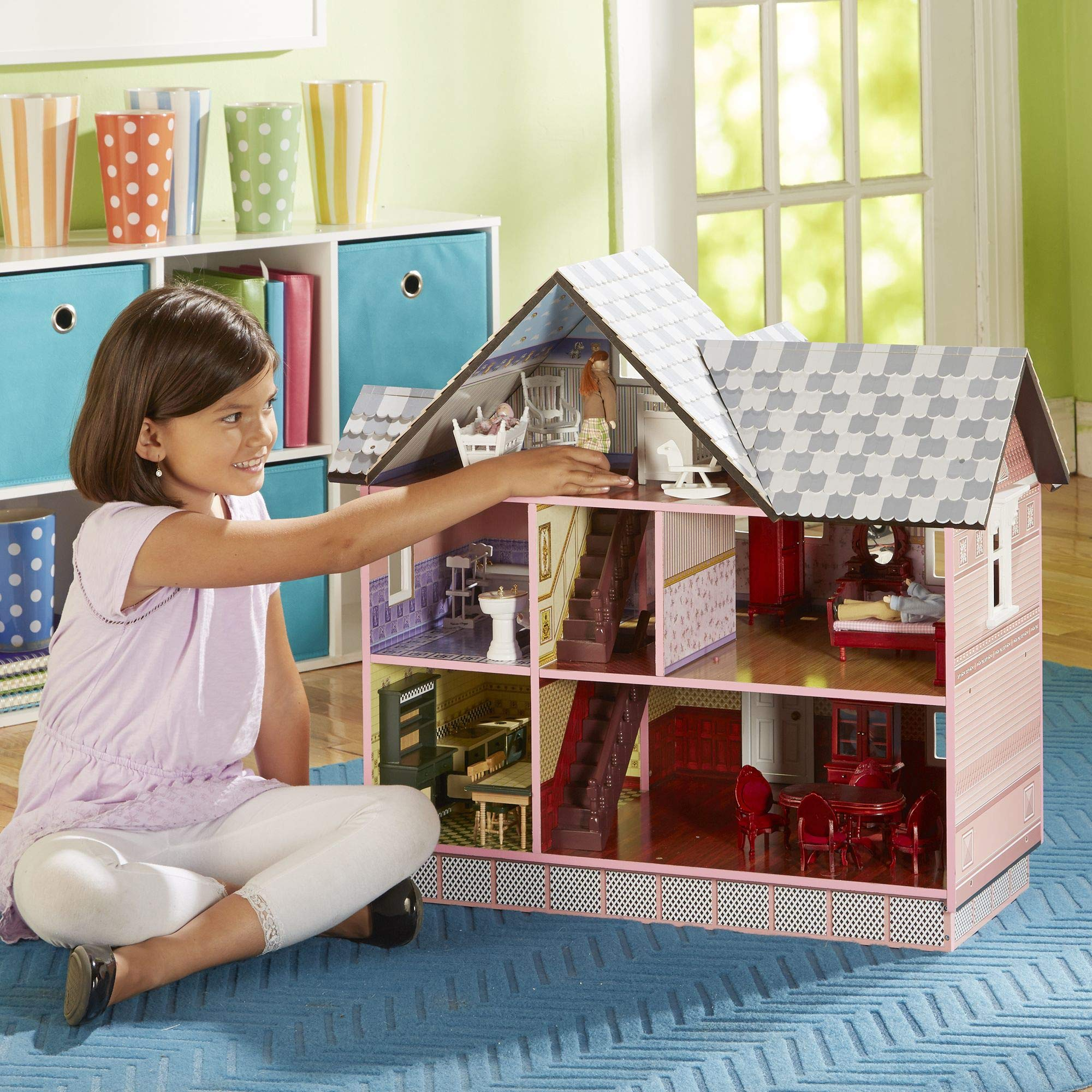 "Melissa & Doug Victorian Dollhouse (Dolls & Dollhouses, Detailed Illustrations, Sturdy Wooden Construction, 29.5"" H x 28"" W x 18"" L)"