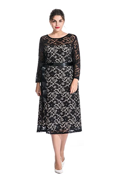 myfeel Women Plus Size Lace A-line Shift Long Sleeves Semi-Formal Summer  Dress