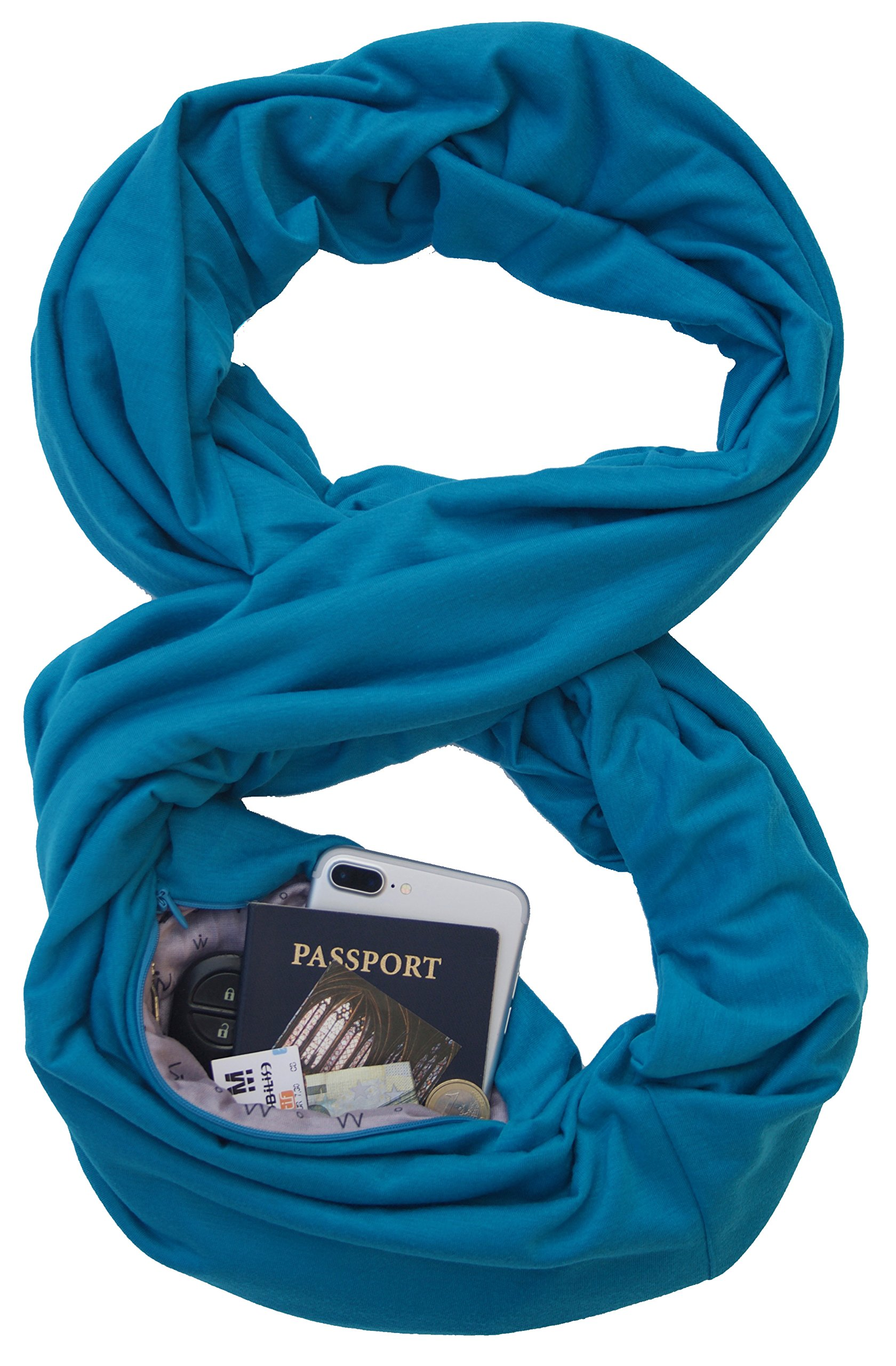 TRAVEL SCARF by WAYPOINT GOODS//Infinity Scarf with Hidden Pocket (Peacock)
