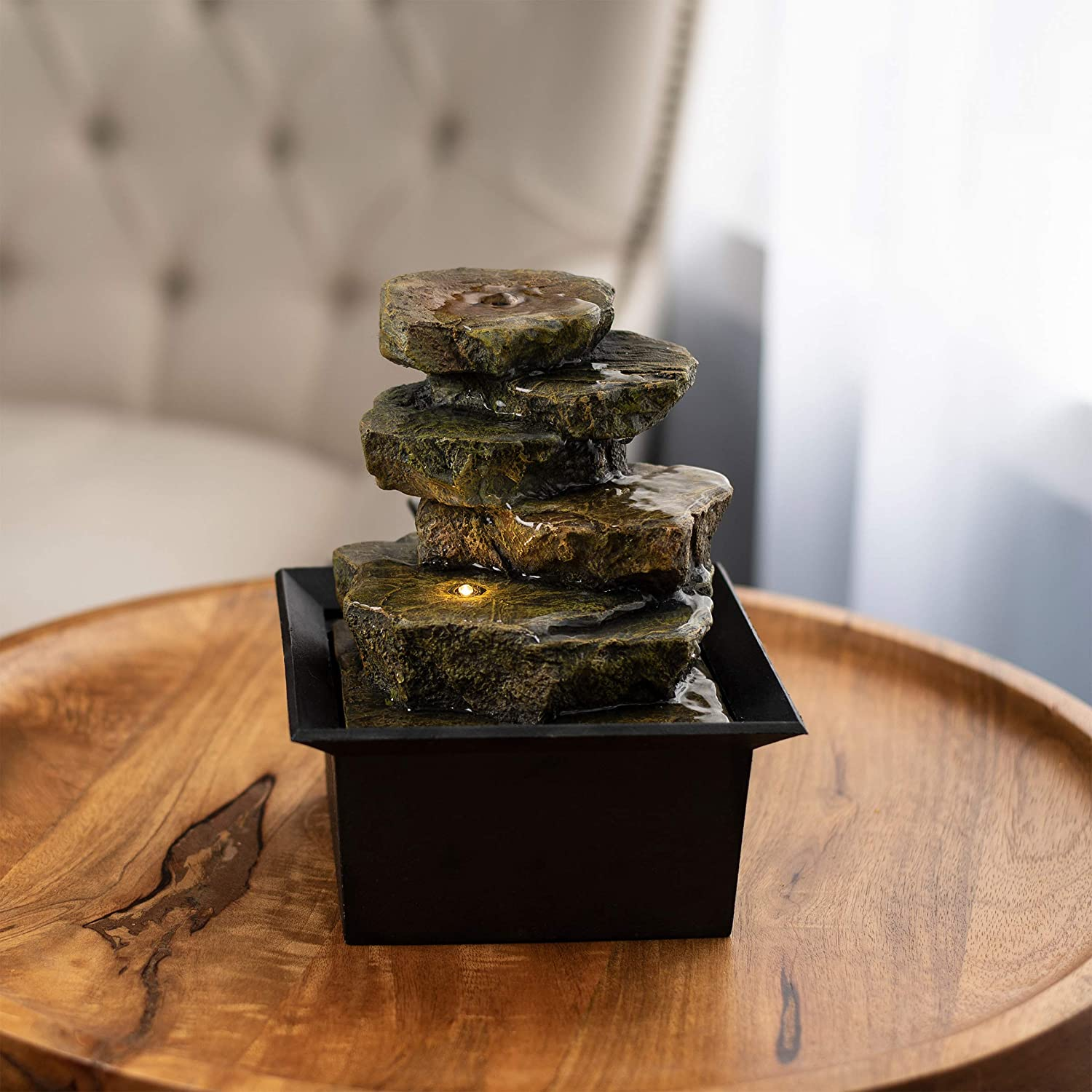 """Pure Garden 50-LG5063 Tabletop Water Fountain-8"""" Cascading Rock Formation Waterfall with LED Light, Electric Pump & Soothing Sounds for Office & Home Décor"""