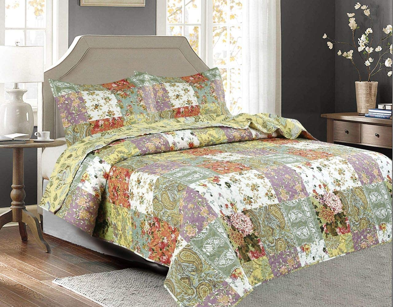 Legacy Decor 3 PCS Paisley Stitched Pinsonic Reversible Lightweight All Season Bedspread Quilt Coverlet Oversize, Queen Size