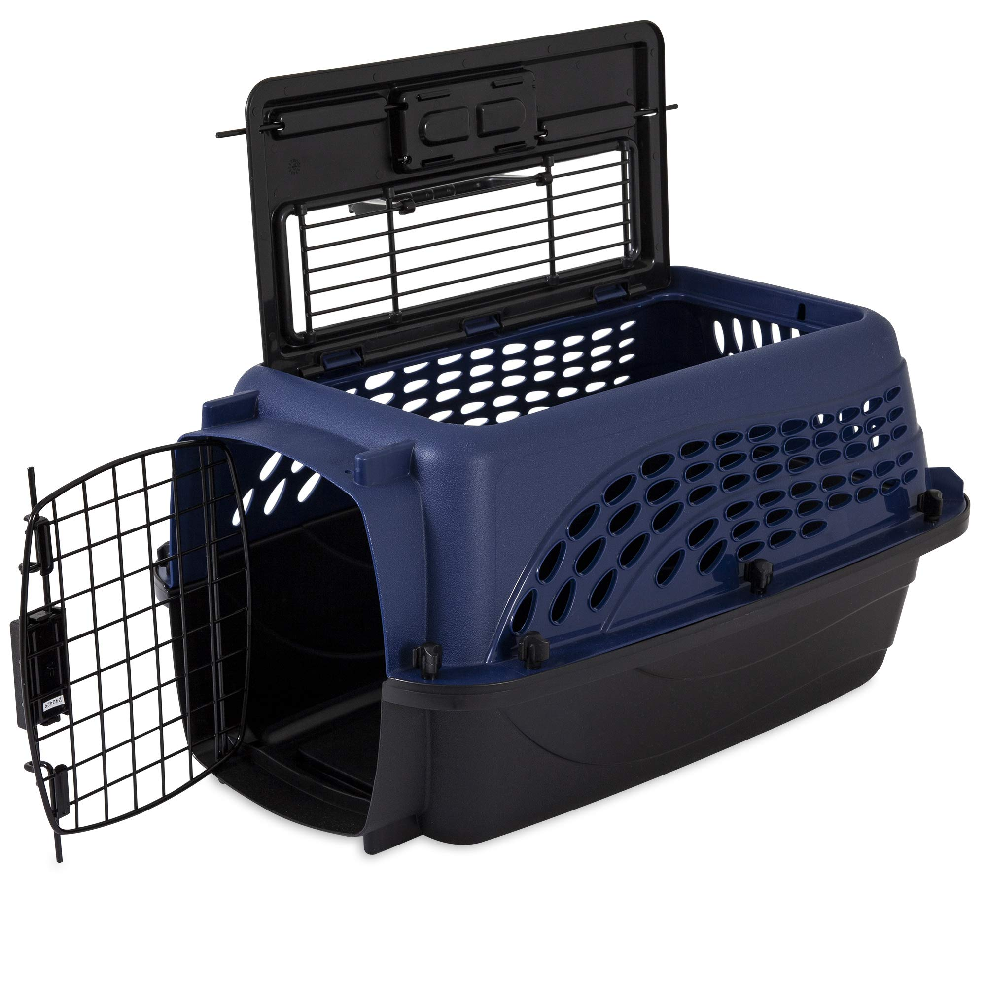 Doskocil Two-Door Top-Loading Kennel - 19'' Plastic and Metal Kennel - Max Pet Weight 10 lbs by Doskocil