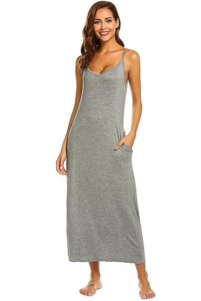 243aae30cf76 Ekouaer Women Nightgowns Long Nighties Sleeveless Full Slip Dress (A-grey