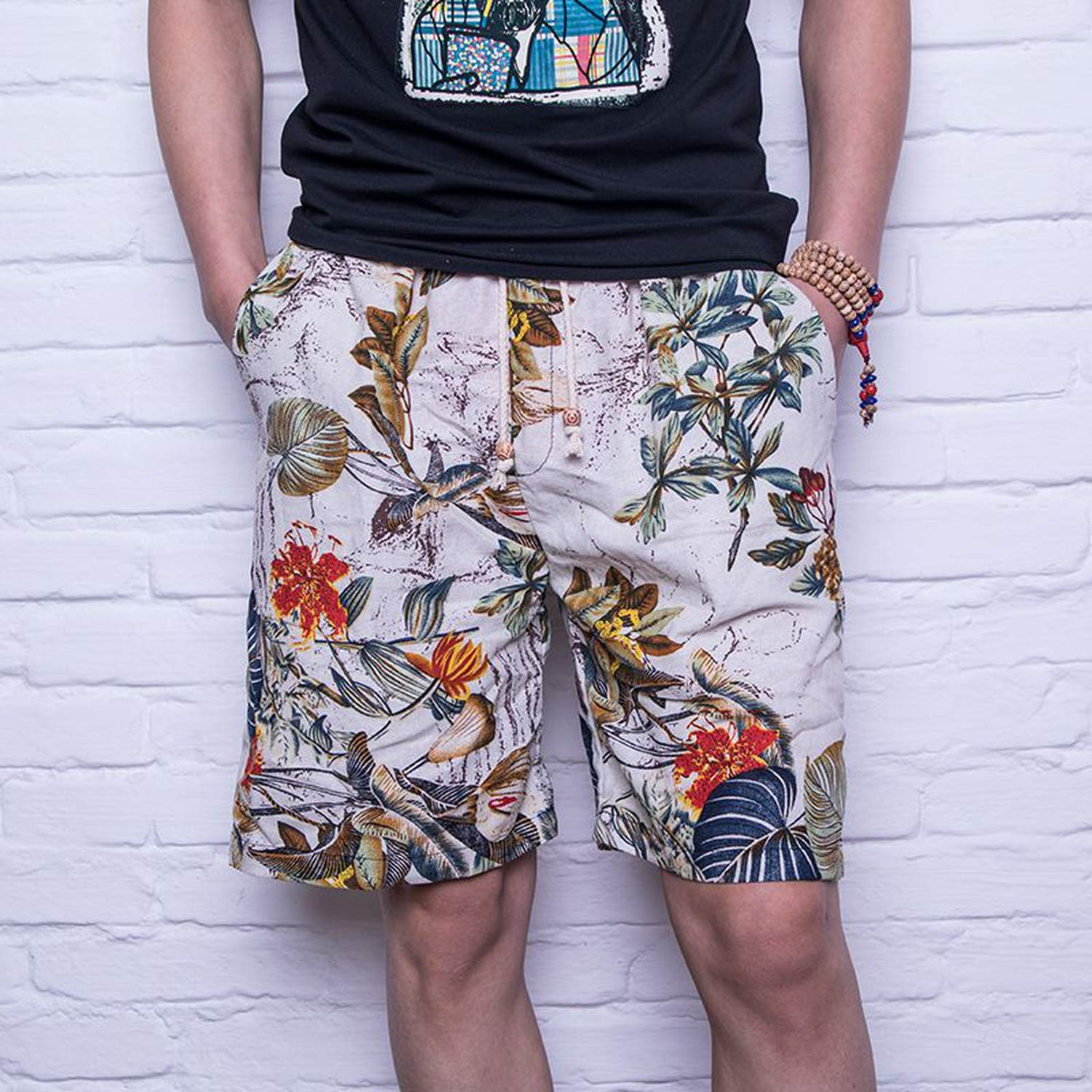 Men Trousers Male Camouflage Fashion Flowers Print Straight Y60,A,XXL,United States