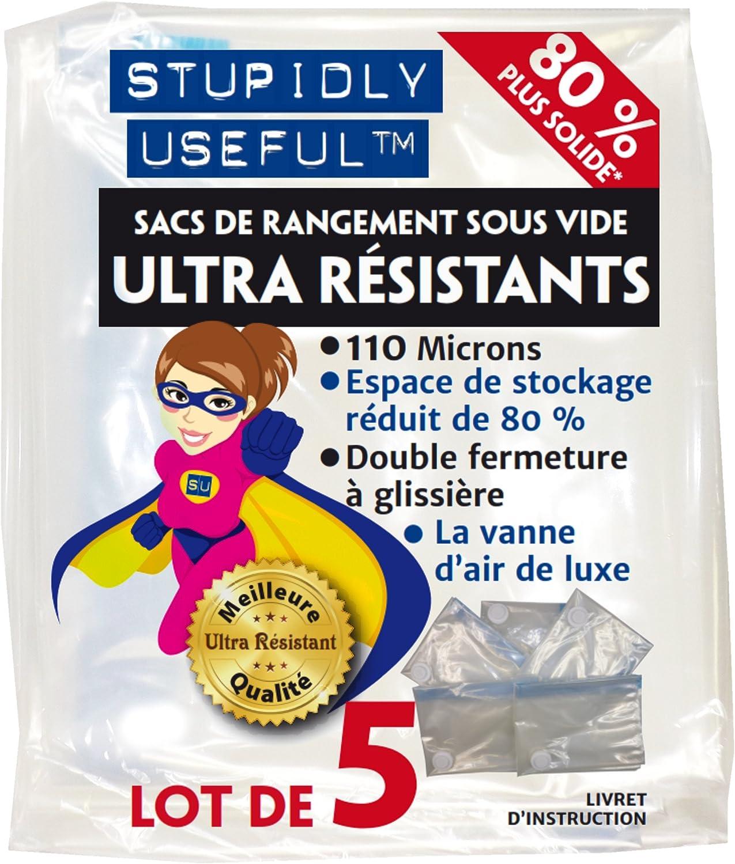 « Stupidly Useful » Sacs de Rangement Sous Vide Haute Qualité - Lot de 5 Housses Grands - Meilleure Qualité : Platine 110 microns - Taille L 80 cm x 60 cm