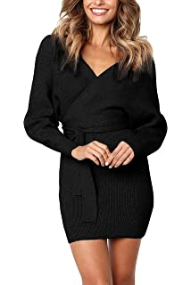 ad4545ba29a Junxiang Women s Sexy V Neck Wrap Belted Batwing Long Sleeve Backless  Pencil Bodycon Knitted Mini Sweater