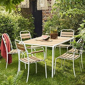 Salon de Jardin en Bois d\'acacia FSC et métal 4 à 6 Places: Amazon ...