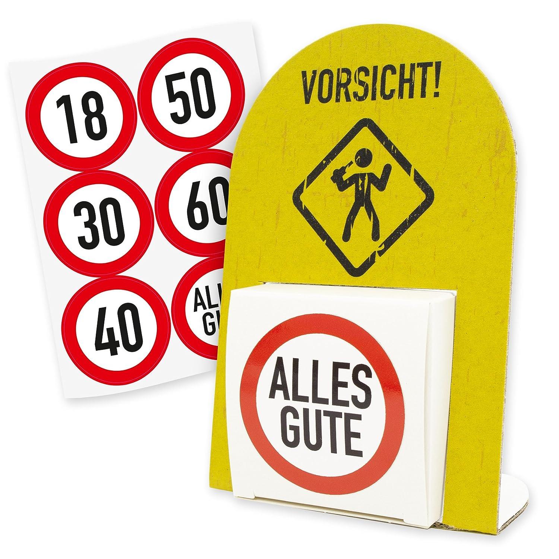 "itenga 24x Sticker /""60/"" Verkehrsschild Aufkleber Geburtstag Deko Geschenk"