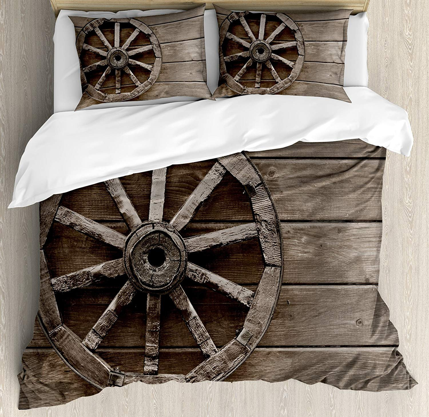Barn Wood Wagon Wheel Bedding Sets, Antique Aged Carriage Vehicle Wheel on the Wall of Barn Grunge Western, 4 Piece Duvet Cover Set Quilt Bedspread for Childrens/Kids/Teens/Adults, Umber,Twin Size