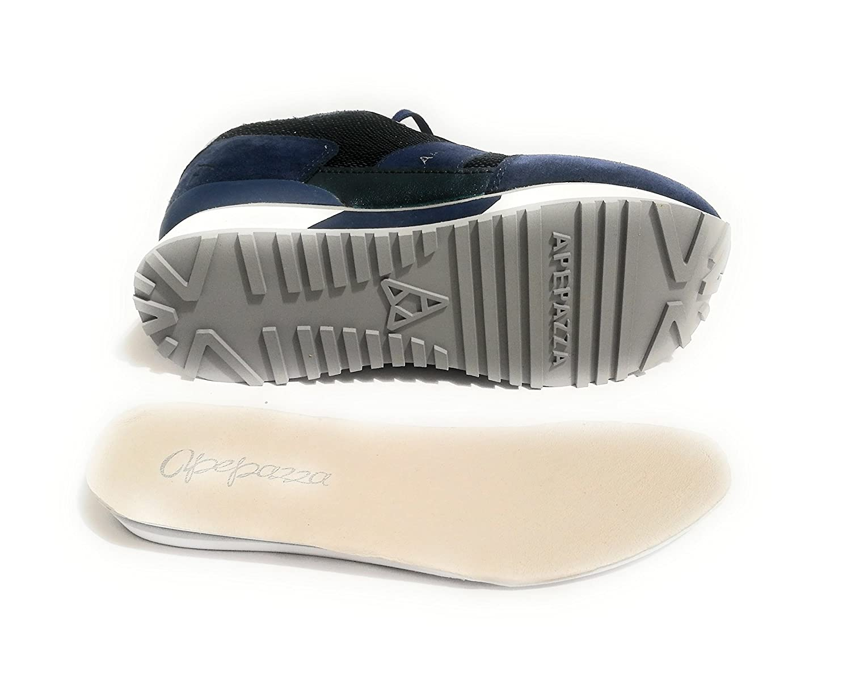 Apepazza Scarpe Donna Pelle Sneaker MOD Renee in Pelle Donna Scamosciata Blu con Paillettes DS18AP06  Blu ada937