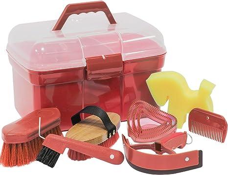 Caja con accesorios de limpieza para caballos, color rojo: Amazon.es: Deportes y aire libre