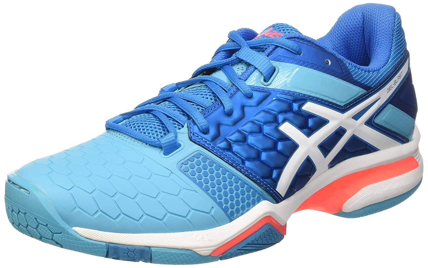 Asics Gel-Blast 7 W, Zapatillas de Balonmano Para Mujer, Blu (Blue Jewel/White/Flash Coral), 39.5 EU E658Y 4301