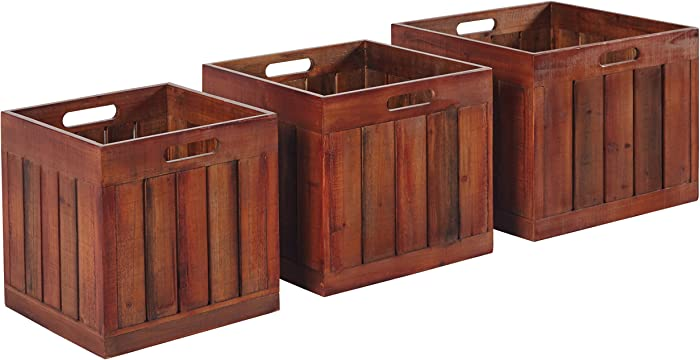 Amazon Brand – Stone & Beam Modern Rustic Farmhouse Wood Slat Storage Bins - Set of 3, Natural