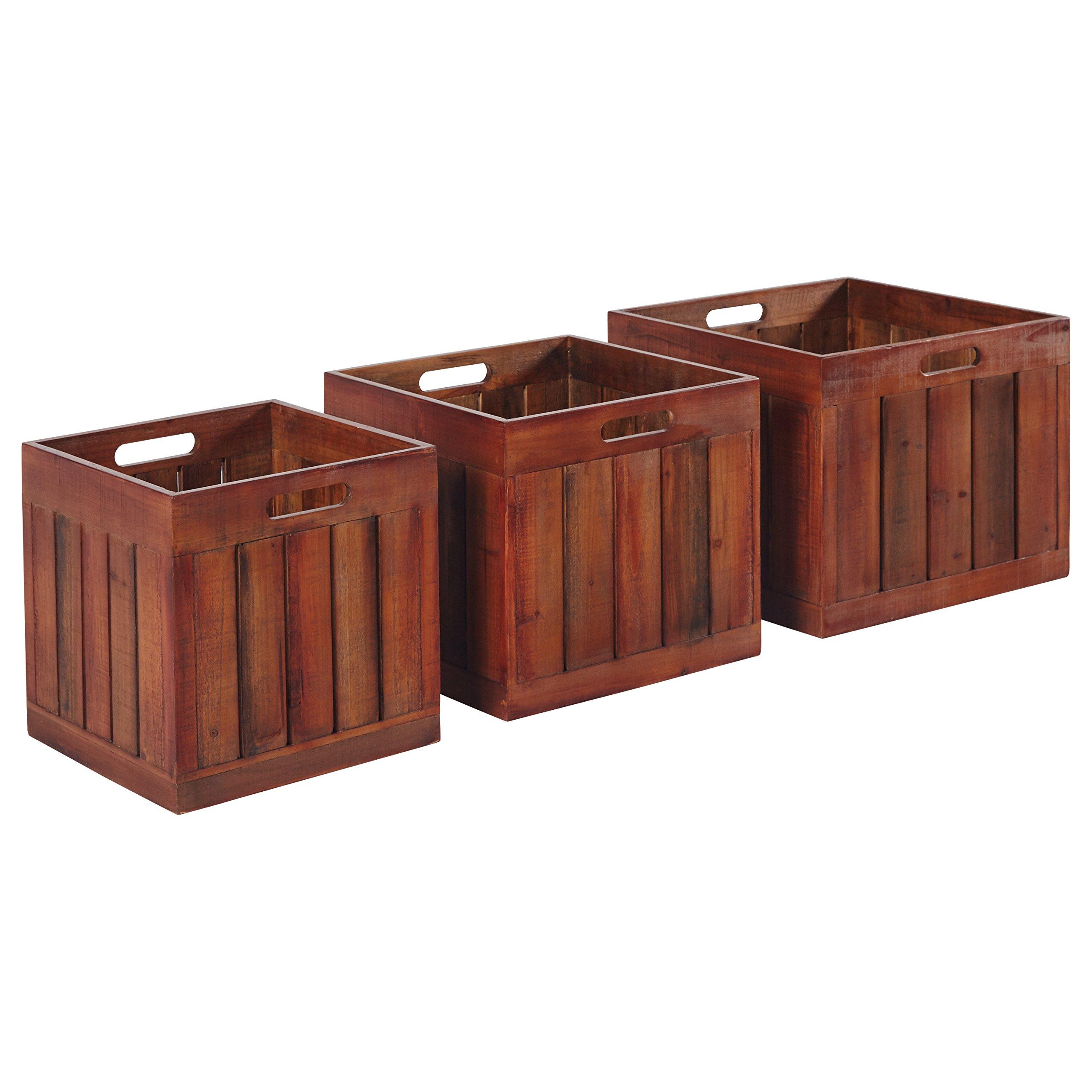 Amazon Brand – Stone & Beam Modern Rustic Farmhouse Wood Slat Storage Bins - Set of 3, Natural