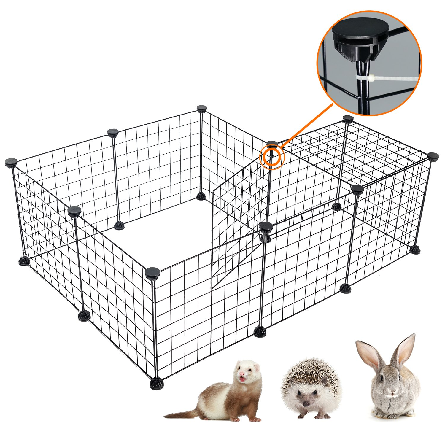 Pet Playpen Portable Animal Crate - DESINO DIY Metal Wire Kennel for Small Pet Indoor, Extendable Pet Fence for Hamster, Rabbit, Guinea Pigs, Puppy, Bunny Cage, Small Animal Pen, Black, 12 Panels