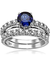 Sterling Silver Gemstone Engagement Ring, Size 7