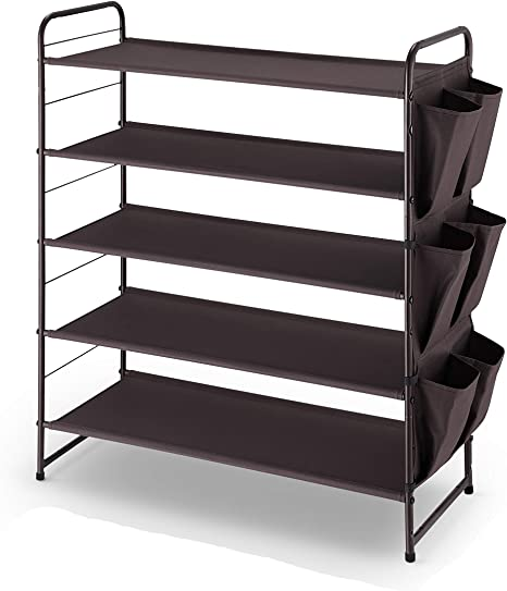 Simple Trending 5 Tier Stackable And Expandable Shoe Rack With Side 6 Shoes Pockets Bronze Home Kitchen