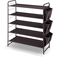 Simple Trending 5-Tier Stackable and Expandable Shoe Rack with Side 6 Shoes Pockets, Bronze