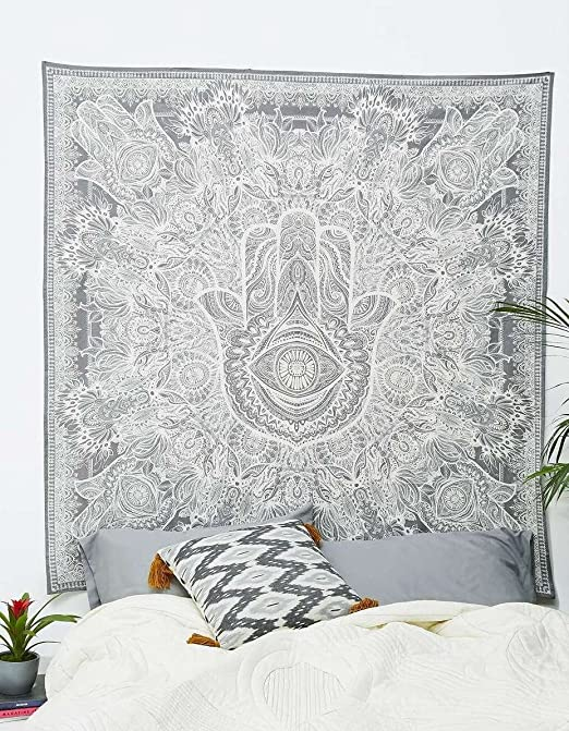 Tapestry Hamsa Hand Throw Indian Hippie Tapestry Wall Hanging, Urban Sketched Hand