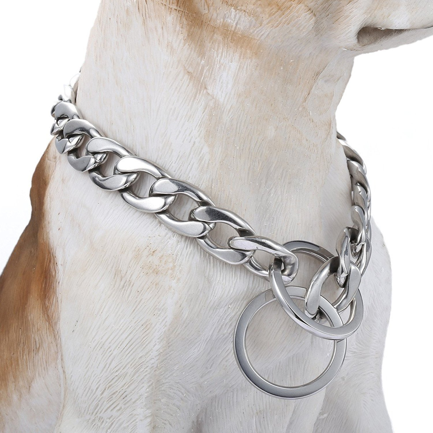 Trendsmax 13mm Silver Tone Curb Cuban Link 316L Stainless Steel Dog Choke Chain Collar 22inch