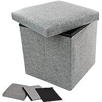 TRIXES Ottoman Storage Box - Flat Pack Toy Storage - Foot Stool - Folding Stool - Storage Box with Lid - Cube Storage…