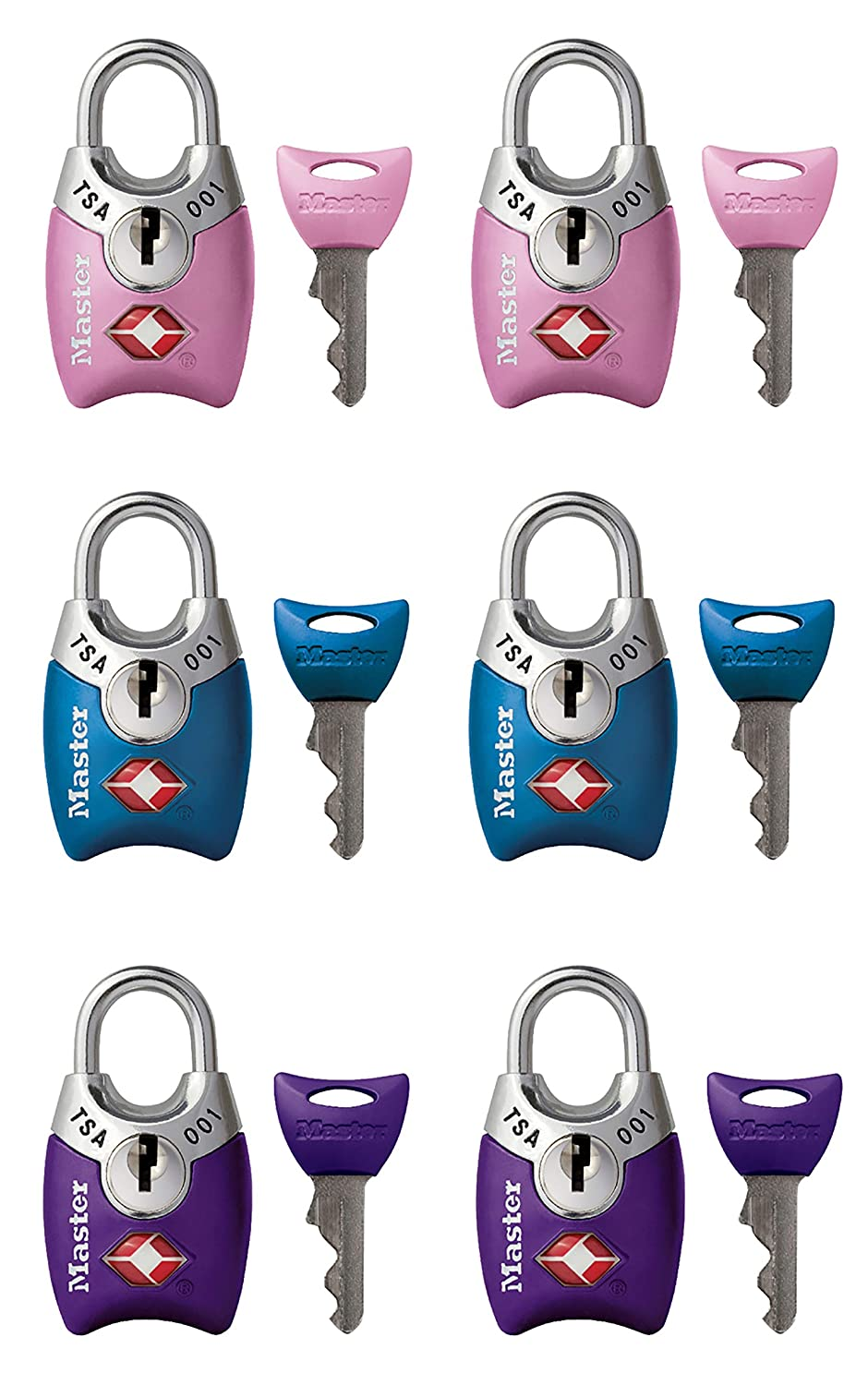 4689T Keyed TSA-Accepted Luggage Lock Pack of 2 Wide Master Lock Padlock Assorted Colors 1 in