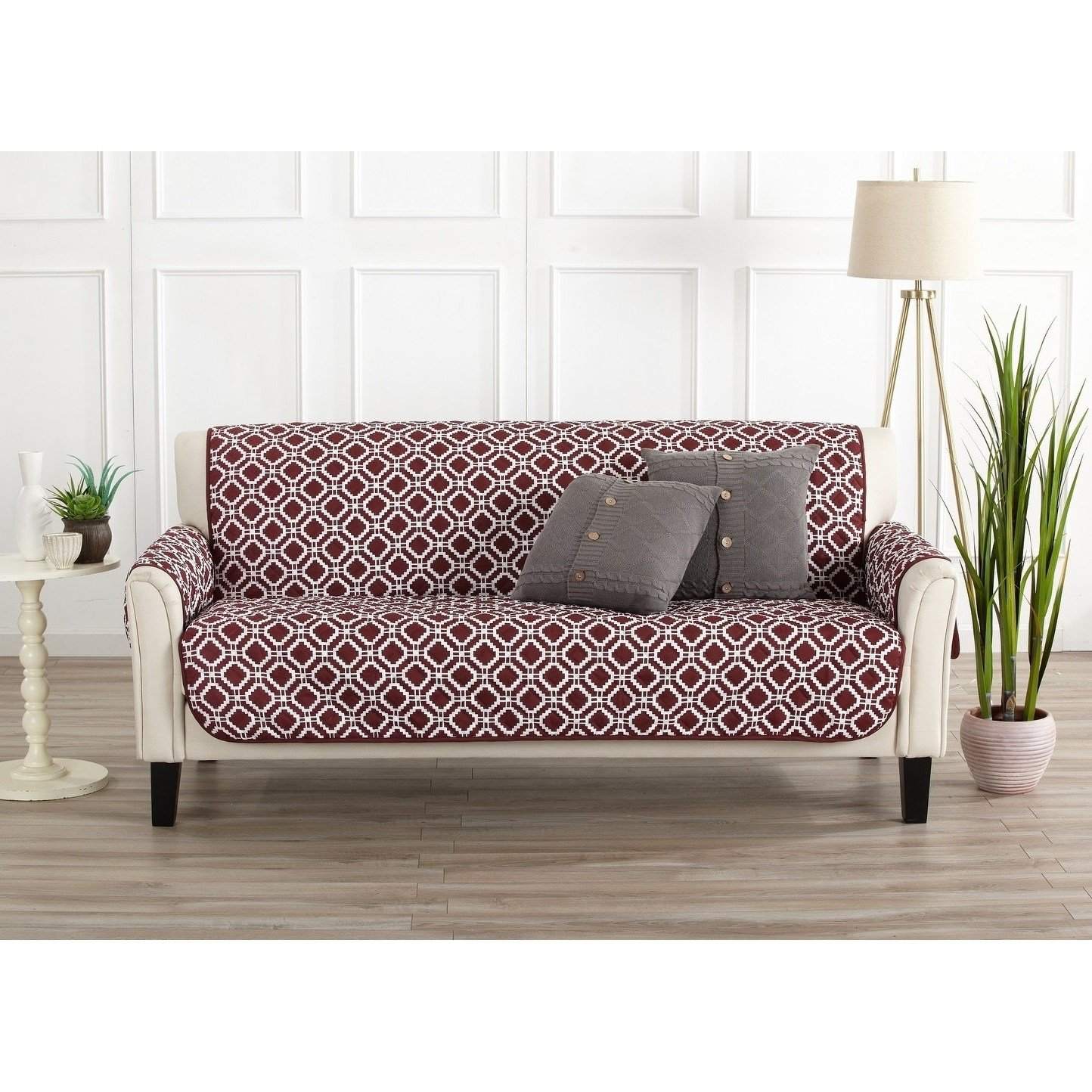 MN 1 Piece Oxblood Red Geometric Sofa Protector, Medallion Diamond Shape Pattern Circle Dot Ikat Jacquard Modern Sleek Trendy Couch Protection Cover Pets Animals Covers, Polyester