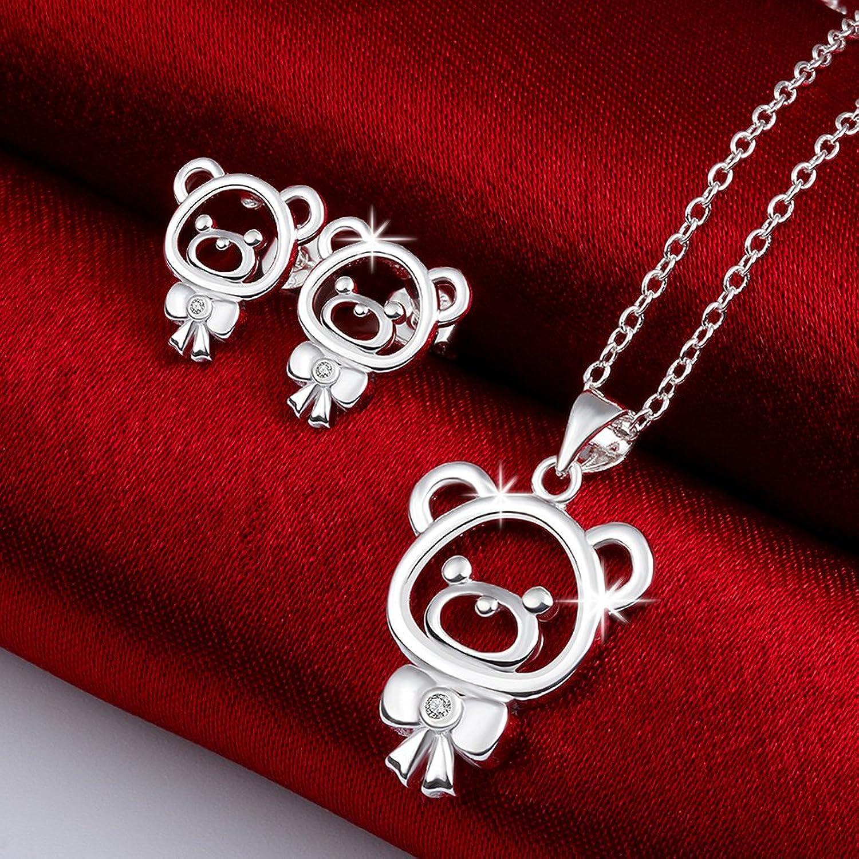 Mädchen Schmucksets für Kinder Teen Girl Ohrringe Anhänger Halskette für Geburtstag Geschenke mit Silber überzogen Borong Amazon Schmuck