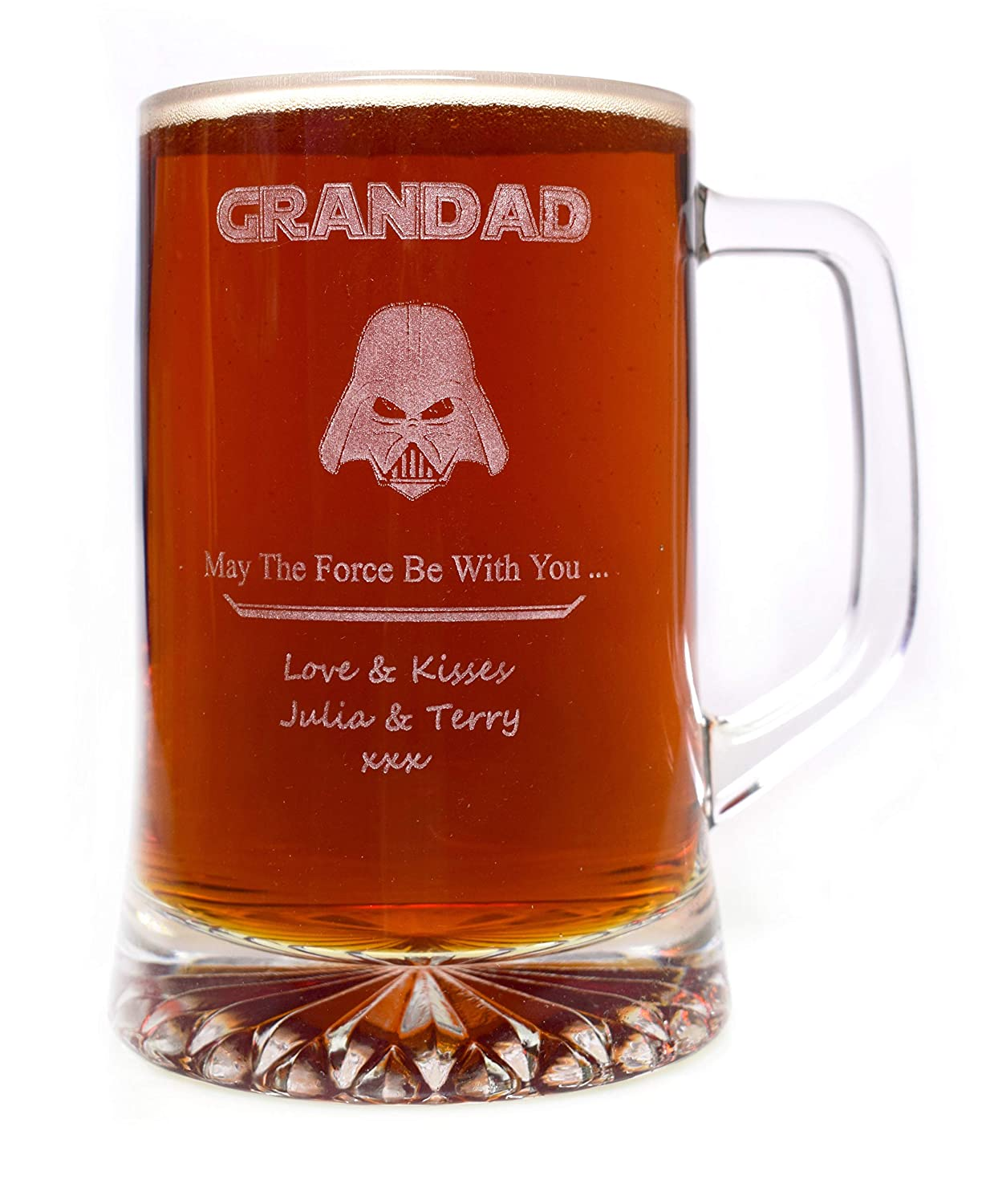 Engraved/Personalised Star Wars Darth Vader Pint Glass Tankard Gift for Fathers Day/Dad/Daddy/Boys/Men/Birthday/Christmas/Step Dad CR8 A GIFT