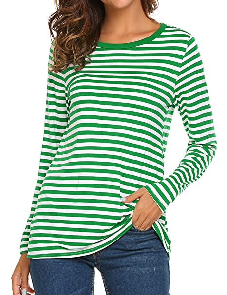 d4a4d15e17aa14 OURS Women s Round Neck Long Sleeve Basic T-Shirt Striped Shirts Tunic Top  Blouse (