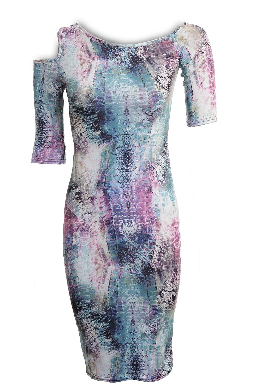 Fantasia - Damen Bodycon Kleid Kurzer Arm Schlange Spinne Graffiti Aufdruck:  Amazon.de: Bekleidung