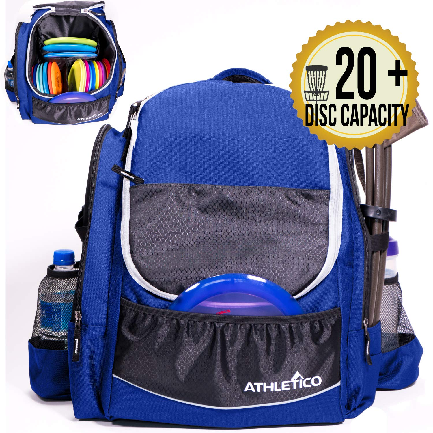 Athletico Power Shot Disc Golf Backpack | 20+ Disc Capacity | Pro or Beginner Disc Golf Bag | Unisex Design (Blue) by Athletico