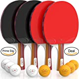 Ping Pong Paddle Set (4-Player Bundle) 4 Ping Pong Paddles | Convenient Storage Bag | 8 Tournament Level ABS Balls | Full Table Tennis Set | Advanced Speed, Control, Spin | Indoor & Outdoor Play