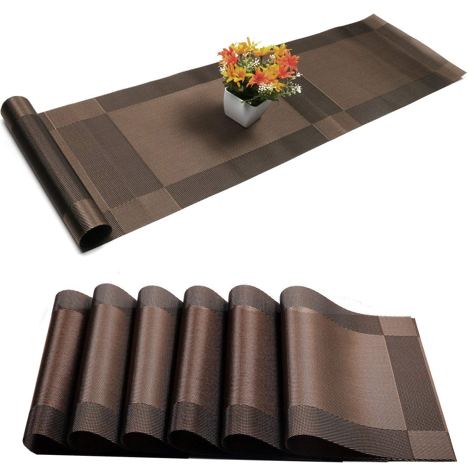 Placemats Set of 6 + 1 Table Runner, Stain Resistant Washable PVC Table Mats Non-Slip Washable Coffee Mats,Crossweave Woven Vinyl Heat Resistant Kitchen Tablemats for Dining Table (Coffee) by Misuhom