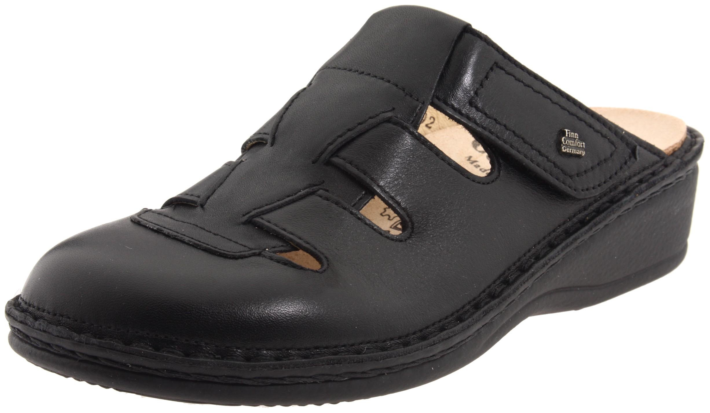 Finn Comfort Women's Java Slip-on Clog,Black Nappa,38 EU (US Women's 7 M)