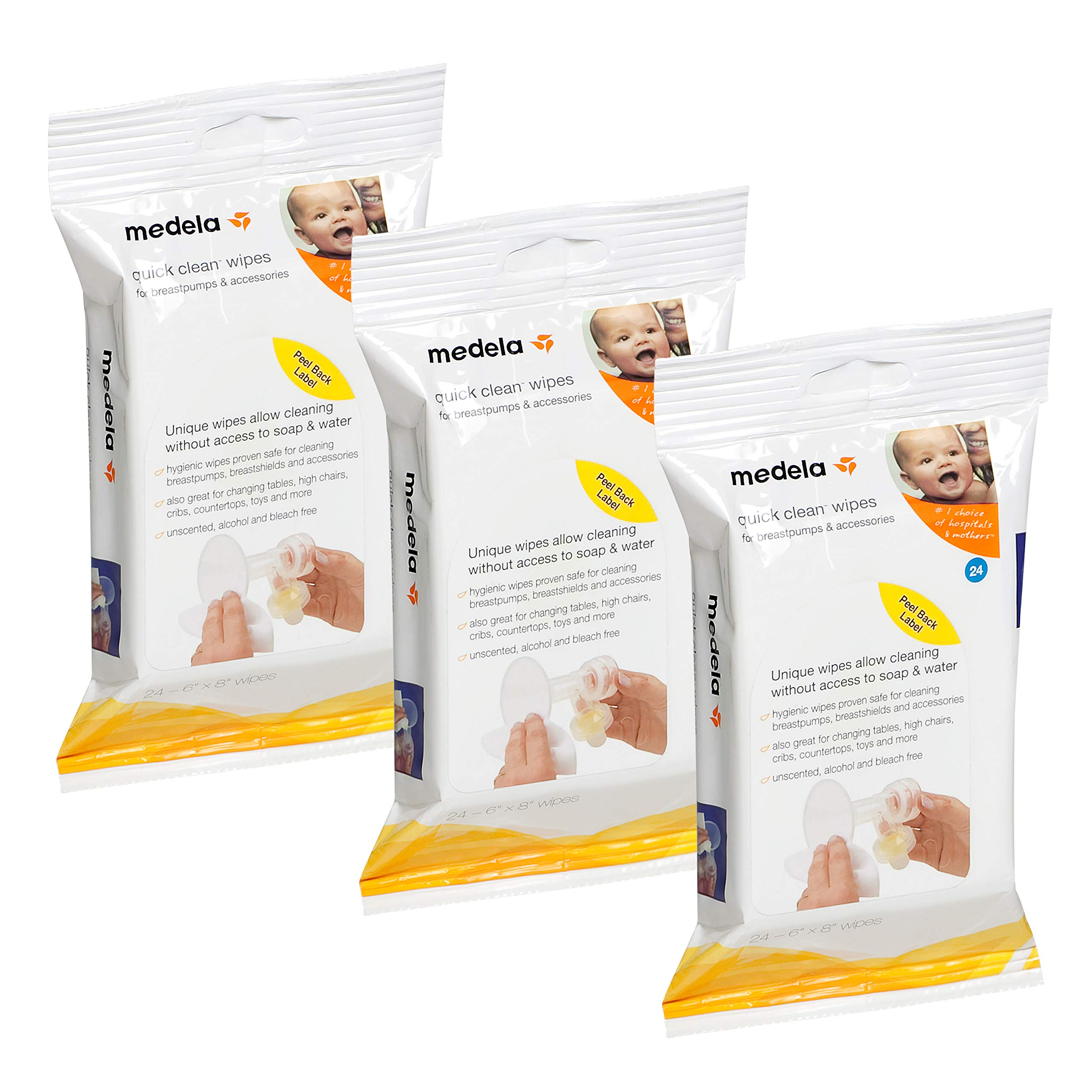 Medela Quick Clean Breast Pump and Accessory Wipes, 72 Wipes in a Resealable Pack, Convenient Portable Cleaning, Hygienic Wipes Safe for Cleaning High Chairs, Tables, Cribs and Countertops by Medela