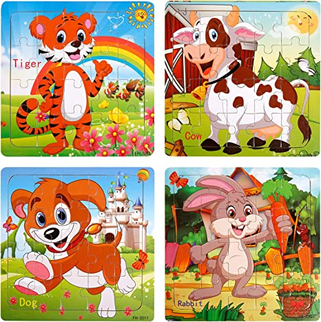 9 Piece Kids Wooden Animal Puzzle Jigsaw Developing Children/'s Intelligence Toys