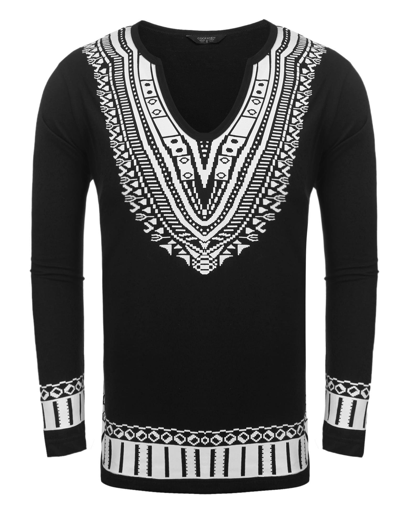 2faac41459f1c1 JINIDU Mens African Print Dashiki Shirt Fashion Long Sleeve T-Shirt ...