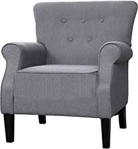 """LOKATSE HOME Modern Classic Accent Fabric Arm Chair, Linen Upholstered Single Sofa with Solid Wood Legs for Living Room, Bedroom, Club, 29.3""""x28.7""""x39.6"""", Grey"""