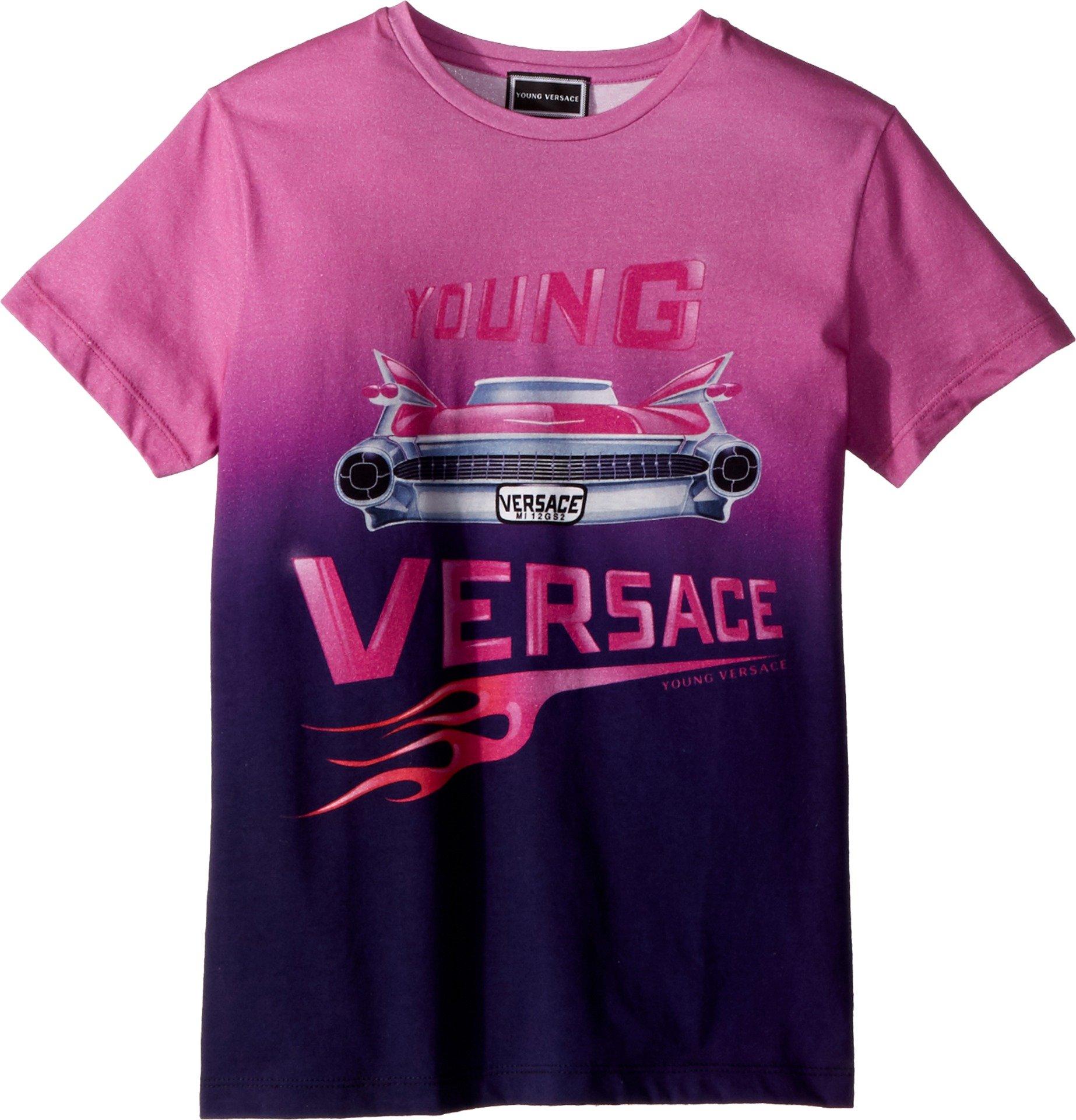 Versace Kids Girl's Short Sleeve Logo Car Graphic T-Shirt (Big Kids) Pink/Multi 11-12