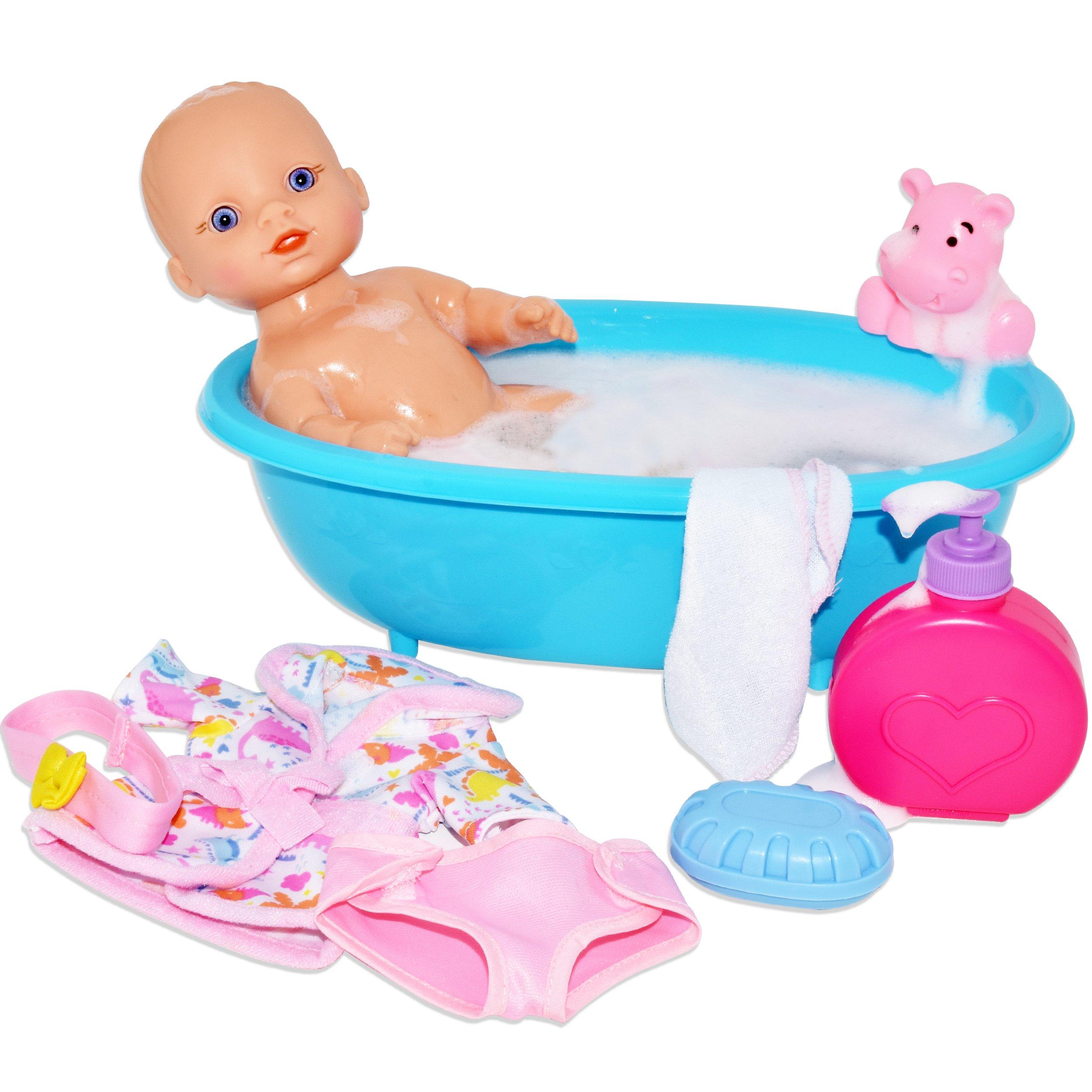Baby Doll Bathtub Set Featuring 10 Inch All Vinyl Doll, Blue Bath ...