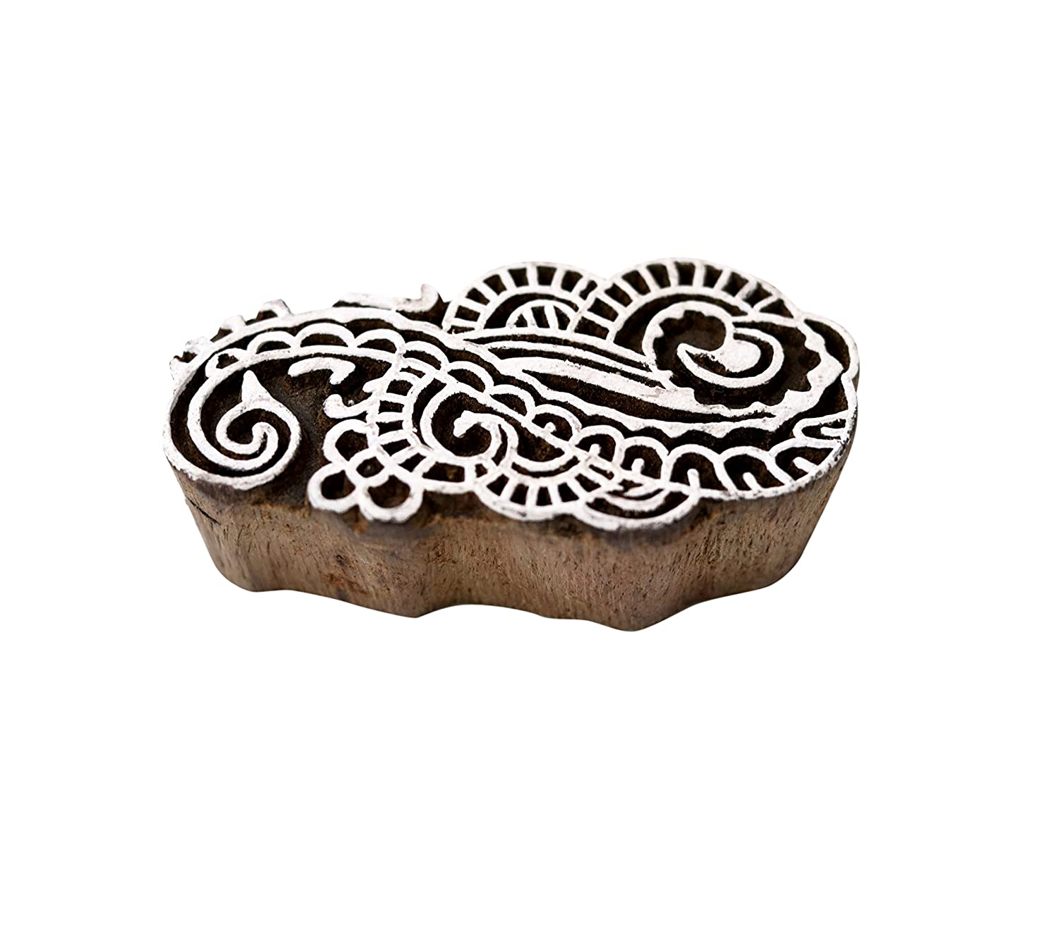 Hashcart Baren for Block Printing Stamps//Wooden Stamping Block//Handcarved Designer Craft Printing Pattern for Saree Border,Henna//Textile Printing,Scrapbooking,Pottery Crafts /& Wall Painting,Set of 5