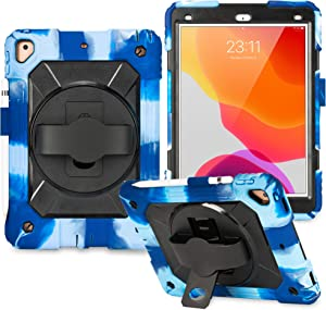 New iPad 7th Generation Case iPad 10.2 Case 2019 Heavy Duty Shockproof Protective Case with 360 Degree Rotating Kickstand & Pencil Holder for iPad Pro10.5/ Air 3rd 2019/iPad 7th Gen 10.2''- Navy Black