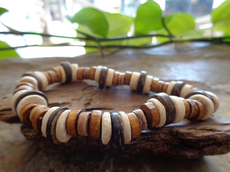 ✿ BRACELET KOKOS ETHNO AUX COULEURS NATURELLES ✿ Bracelet naturel unique disques /à la noix de coco disques en bois brassard pied extensible unisexe