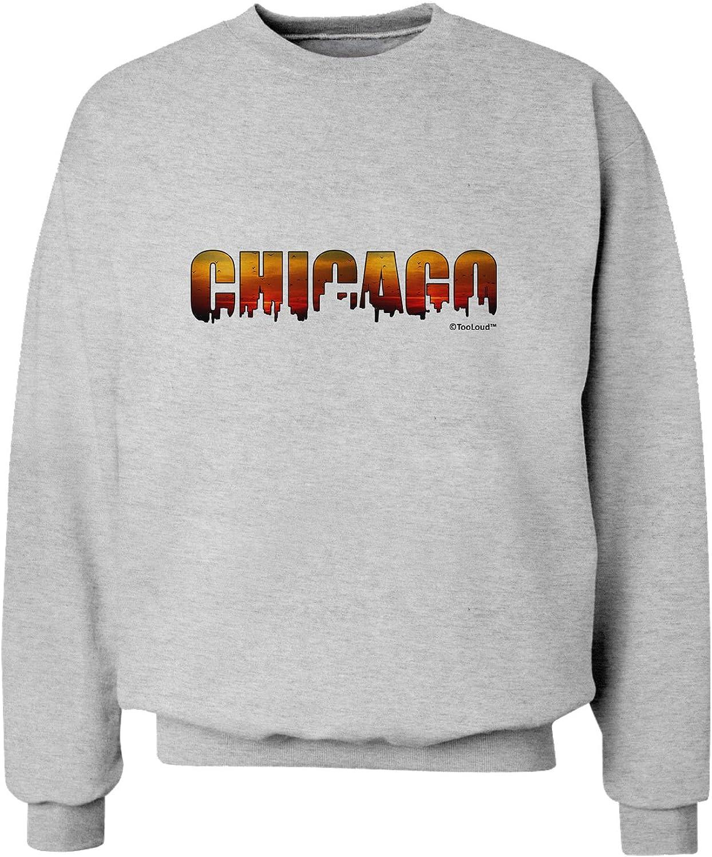 TooLoud Chicago Skyline Cutout Sunset Sky Sweatshirt