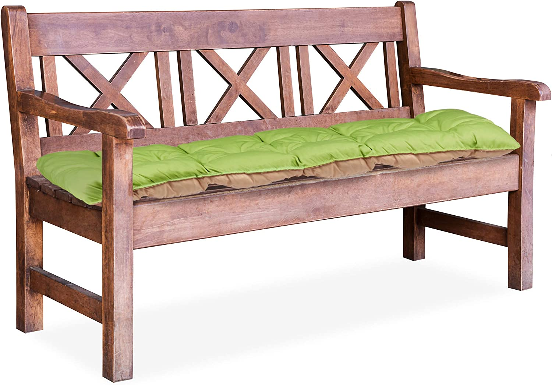 8x118x52cm Verde//Beige HLP Relaxdays 10023474/_53 Cuscino per Panca da Giardino Imbottitura Panchina a 2 Posti da Legare Pieghevole